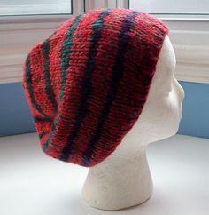 Unisex beanie hat multi yarn handspun hand knitted Classic design Contemporary colours red black multi stripes by SpinningStreak on Etsy