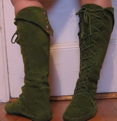 I would love these in a dark brown....    Fairy Princess ELF BOOTS pointy toe knee high moss by earthgarden, $125.00