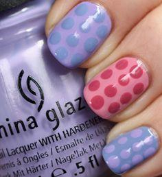 "China Glaze Avant Garden ""Pastel Petals"" polka dot #nailart"