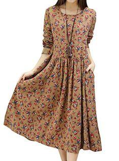 66d2028e17d Hole Tide Womens Floral Patterned Cotton linen Maxi Long Dress Khaki Size US  14       AMAZON BEST BUY