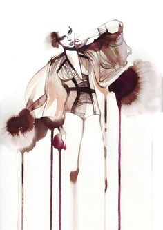 Petra Dufkova - Fashion and Style Illustrator .. an inked illusration. beautifully illustrated with a very nice colour pallet. this has been drawn on water colour paper and photocopied to be then placed onscreen in photoshop to give the texture style