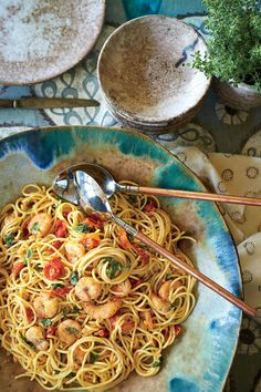 Spaghetti with Shrimp and Roasted Cherry Tomatoes - September 2016 Recipes - Southernliving. Recipe: Spaghetti with Shrimp and Roasted Cherry Tomatoes