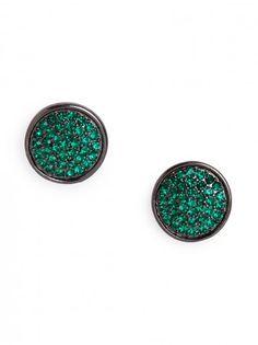 Emerald Pavé Disc Studs