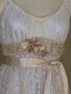 Antique Lace  Champagne Velvet Satin Ribbon Wedding by hippiebride,