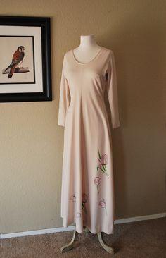 Vintage Maxi Dress Hand Painted Floral 70s by WaistlandVintage, $33.00