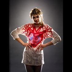 """Be still my heart"".  Tunic made from silk and wool felt. #felt #art to wear"
