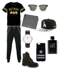"""""""❤️"""" by whysorude on Polyvore featuring Les Hommes, Bioworld, Timberland, Daniel Wellington, Michael Kors, Ray-Ban, New Era, Givenchy, Giorgio Armani et men's fashion"""