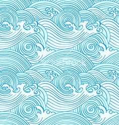 Japanese seamless ocean waves pattern