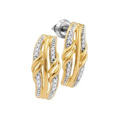 10kt Yellow Gold Womens Round Diamond Rectangle Cluster Stud Earrings 1/12 Cttw