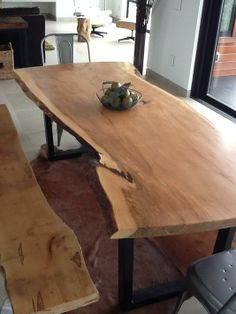 Custom Made dot com:  Live Edge Dining Table And Benches - $4500-$10000