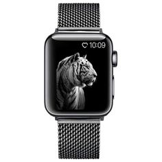 Apple Watch Band Milanese Mesh Sport Loop Stainless Steel Watchband with Double Buckle - Black / 38mm / 40mm