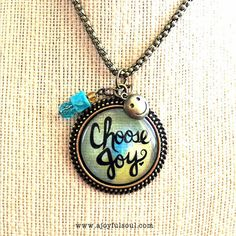 CHOOSE JOY Art Charm Pendant Necklace by AJoyfulSoulGifts on Etsy, $20.00