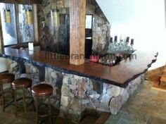 Live edge recovered old growth redwood bar top wood counter