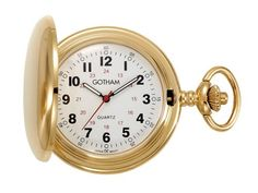 Gotham Men's Gold-Tone Polished Finish Covered Quartz Pocket Watch # GWC15042G – Watches for Boys
