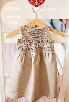 Ravelry: Granny Square Crochet / Fabric Dress pattern by Mon Petit Violon - FREE pattern Crochet Yoke, Crochet Fabric, Crochet Girls, Crochet Baby Clothes, Crochet For Kids, Irish Crochet, Crochet Toddler Dress, Crochet Pillow, Crochet Dresses