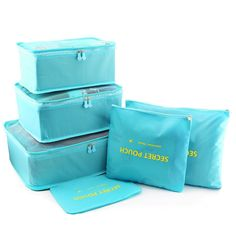 Amazon.com: Bfun Luggage Packing Organizers Cubes Nylon Laundry Pouch 3 Cubes 3 Pouches Best Travel Accessories in Pack Pockets Ultra-thin: Home & Kitchen