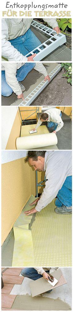 """Wenn man die Fliesen der Terrasse auf einen Untergrund verlegen will, der noch """"arbeitet"""" (wie Holzdielenboden, Spanplatten oder Gussasphalt), dann empfiehlt sich eine Entkopplungsmatte. Sie erlaubt auch das Verlegen auf bereits schadhaften Altbelägen (Fliese auf Fliese). Wir zeigen, wie man eine Entkopplungsmatte richtig verarbeitet."""