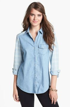 Rubbish® Plaid Detail Chambray Shirt (Juniors) available at #Nordstrom
