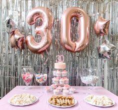Birthday Sleepover Ideas, 50th Birthday Themes, 30th Birthday Balloons, 30th Birthday Cake Topper, 30th Birthday Decorations, Dessert Table Birthday, Happy 30th Birthday, 30th Birthday Parties, Elegant Birthday Cakes