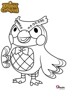 Free, Blathers the owl animal crossing character coloring page printable coloring book pages, connect the dot pages and color by numbers pages for kids. Cartoon Coloring Pages, Coloring Book Pages, Coloring Pages For Kids, Animal Crossing Pocket Camp, Animal Crossing Game, Animal Crossing Characters, Printable Animals, Owl Pet, Animal Games