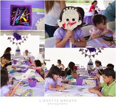 Sofia the first birthday party arts and crafts at the table