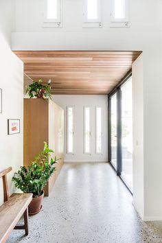Modern Ranch, Terrazzo Flooring, White Barn, Flooring Options, Home Reno, Tile Floor, Garage Doors, Design Inspiration, Exterior