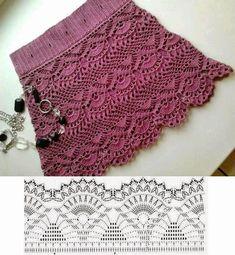 Fabulous Crochet a Little Black Crochet Dress Ideas. Georgeous Crochet a Little Black Crochet Dress Ideas. Crochet Diagram, Crochet Chart, Crochet Stitches, Crochet Motif, Mode Crochet, Diy Crochet, Tutorial Crochet, Skirt Tutorial, Crochet Skirts
