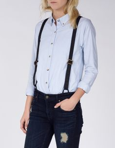 Inky dark indigo denim and contrast distressing bring a unique mix to these classic boyfriend jeans, but it's the versatile coated canvas suspenders that will make these your new favorite.