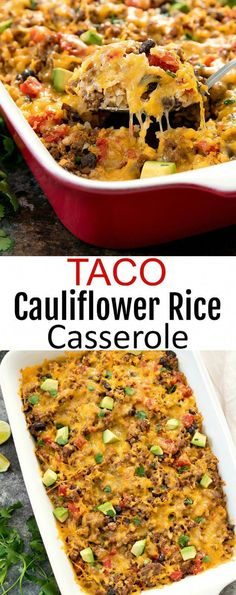 A low carb rice casserole dish made with caulif… Taco Cauliflower Rice Casserole. A low carb rice casserole dish made with cauliflower rice cooked with taco meat and topped with a layer of melted cheese. Healthy Recipes, Rice Recipes, Mexican Food Recipes, Cooking Recipes, Recipes Dinner, Recipes For One, Healthy Hamburger Recipes, Healthy Casserole Recipes, Cooking Pasta