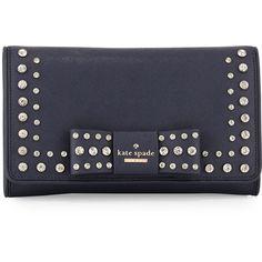 kate spade new york davies mew eva bow clutch bag ($310) ❤ liked on Polyvore featuring bags, handbags, clutches, leather clutches, real leather handbags, chain strap purse, metallic handbags and leather handbags