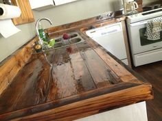 DIY countertops wood rustic