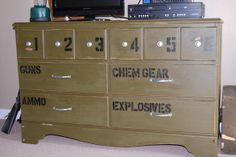 Gavin's room Repurposed military theme dresser from RoadKill Rescue.Perfect for a boy's room or mancave Boys Army Room, Boy Room, Kids Room, Military Bedroom, Army Bedroom, Boy Dresser, Camo Rooms, Camo Boys Bedrooms, Refurbished Furniture