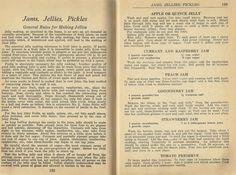 Vintage Recipes, Jams, Jellies, Pickles, 1940s recipes
