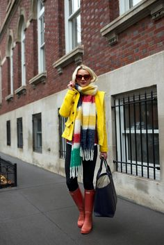 bright jacket with rain boots