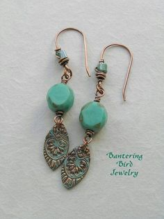 Copper #9. Copper Earrings, Copper Jewelry, Bead Earrings, Wire Jewelry, Beaded Jewelry, Jewelery, Earrings Online, Wire Rings, Jewelry Stand