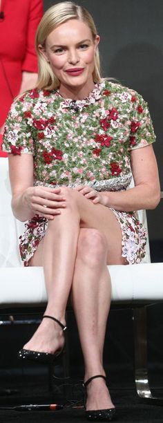 Who made  Kate Bosworth's red floral dress and black ankle strap shoes?