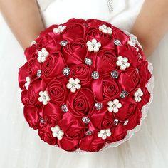 RAMO DE NOVIA 2014 иу новый красный свадебные аксессуары из хрусталя и жемчуга с цветами в руках цветок свадебный букет цветов OEM цвет 22 * 27 см(China (Mainland))