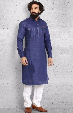Shop Plain cotton navy pathani suit online from India. Pathani Suit Men, Pathani Kurta, Kurta Pajama Men, Kurta Men, Indian Men Fashion, Mens Fashion, African Fashion, Casual Winter, Men Casual