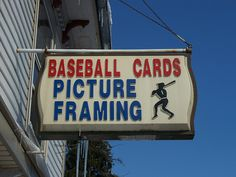 Plastic vacuform sign for Baseball Cards Picture Framing in Lewisburg, Ohio.     Baseball