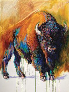 Barbara Meikle, Soul of the Prairie, oil, 48 x - Southwest Art Magazine Buffalo Animal, Buffalo Art, Native Art, Native American Art, Buffalo Tattoo, Buffalo Painting, Southwest Art, Bison, Wildlife Art