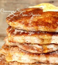 (Oh Bite It) ~Cinnamon Sugar Sour Cream Pancakes! Sour Cream Pancakes, Pancakes And Waffles, Breakfast Pancakes, Banana Pancakes, Breakfast Club, Banana Pudding, Savoury Cake, Breakfast Recipes, Breakfast Ideas
