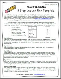 Whole Brain Teaching: Lesson Plan Template from The Reflective Educator on TeachersNotebook.com (6 pages)