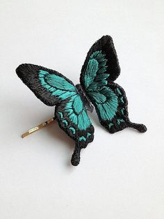 Hand embroidery butterfly hair clip stumpwork by EmSpeciRoom