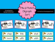 """Four Heading Cards with """"ch,"""" """"sh,"""" """"th,"""" and """"wh""""Over 50 mix and match digraph word cards!Perfect for use in a pocket chart, as a guided reading activity, or in a word work center!! (with cute baby raccoons and spring flowers on the cards!)Visit my blog at Firstie Favorites  for an opportunity to get this product for free!!"""