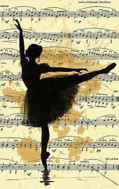 Framed Print - Ballerina Dancing On Vintage Music Paper (Picture Poster Art)