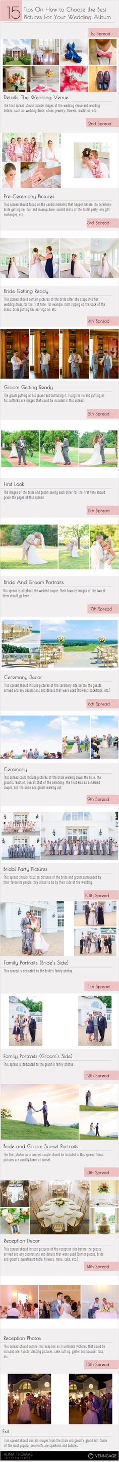 How to choose the perfect pictures for your wedding album. Wedding album infographic for photographers by Alina Thomas Photography. www.alinathomas.com                                                                                                                                                                                 More