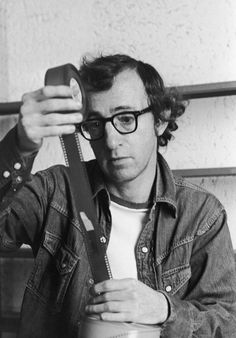 """""""Woody Allen Checks Film"""" by Bernard Gotfryd, Licensed by Getty Images (editorial no. Image retrieved from the Irish Film Institute website. Woody Allen, Best Director, Film Director, Martin Scorsese, Stanley Kubrick, Alfred Hitchcock, Fritz Lang, Great Films, Crime"""