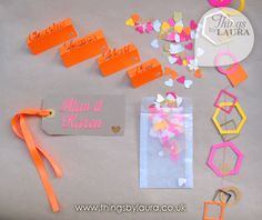 Place names, scatter confetti, geometric paper garland and gift tags for a neon themed wedding www.thingsbylaura.co.uk
