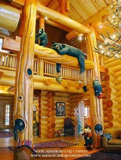 Bears Bears All over the place, This tradition log residence theme is nice for teenagers. Bears Bears All over the place, This tradition log residence theme is nice for teenagers. Home Themes, Log Cabin Homes, Log Cabins, Log Furniture, Cabin Interiors, Cabins And Cottages, Cozy Cabin, Cabins In The Woods, Logs