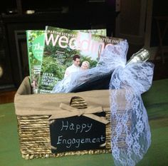 Engagement gift idea - basket, prosecco, bridal magazines, chalk board label